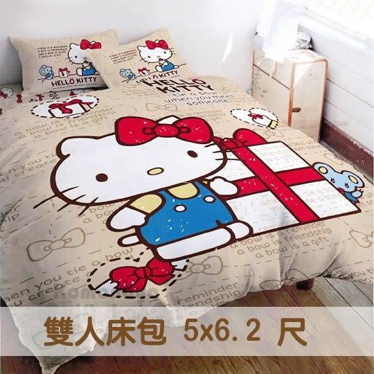 免運下殺↘899〔小禮堂〕Hello Kitty 雙人床包《棕.禮物盒》5x6尺.蝴蝶結寢具系列 4711737-51121