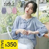 LULUS特價-M簍空緹花小V領上衣-3色 【01060751】