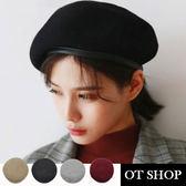 OT SHOP帽子‧素色保暖毛呢‧貝雷帽羊毛帽毛呢帽畫家帽‧歐美日韓系時尚文青穿搭‧現貨4色‧C1879