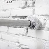 美式現代伸縮桿免打孔亮銀蜂窩浴簾桿 1.2-2m