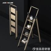 伸縮梯 奧鵬鋁合金梯子家用折疊加厚人字梯伸縮室內四五步多功能收縮樓梯 宜品