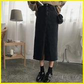 牛仔裙-秋季氣質百搭高腰開叉牛仔半身裙韓版學生純色A字中長裙女裝