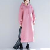 全網熱銷商店 純色抓絨帶帽洋裝連身裙潮新款韓版減齡休閒寬鬆長袖連帽衛衣裙子
