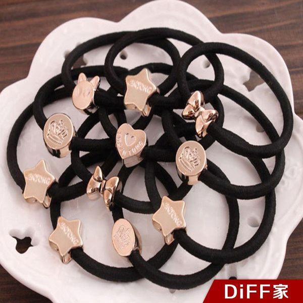 【DIFF】韓版造型電鍍黑色髮圈 髮飾 束髮圈 束髮帶 綁頭髮