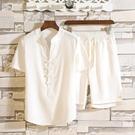 胖子亞麻中國風套裝男加肥大碼唐裝男夏季短袖棉麻中式復古兩件套 快速出貨