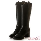 amai超修飾V型微寬筒粗跟長靴(嬌小版) 黑