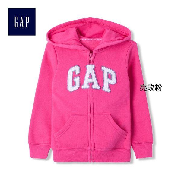 Gap女嬰幼童 Logo簡潔動感風格連帽長袖休閒外套 632530-亮玫粉