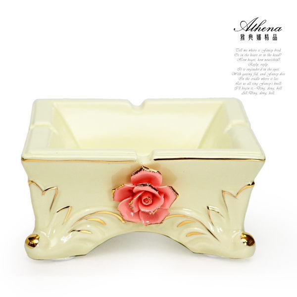 【雅典娜家飾】立體粉玫瑰方型陶瓷煙灰缸-GD19