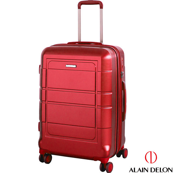 ALAIN DELON亞蘭德倫 24吋(驚爆價6折) 奢華金屬流線系列 可擴充設計 行李箱/旅行箱- 紅