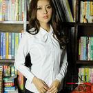 【S-41ED】森奈健-優雅成熟OL吸濕排汗短領巾長袖女襯衫(白色)