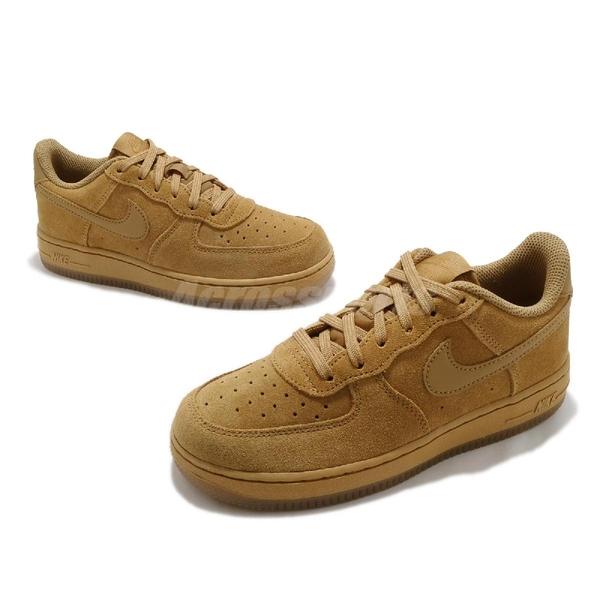 Nike 休閒鞋 Air Force 1 LV8 3 PS 咖啡 駝色 童鞋 中童 麂皮設計 AF1 【ACS】 BQ5486-700
