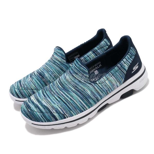 Skechers 休閒鞋 Go Walk 5-Glowing 藍 混色 針織鞋面 女鞋 【ACS】 15912NVMT