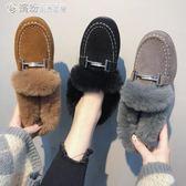 豆豆鞋 網紅社會豆豆鞋女秋冬季百搭學生毛毛鞋加絨保暖棉鞋子潮 繽紛創意家居