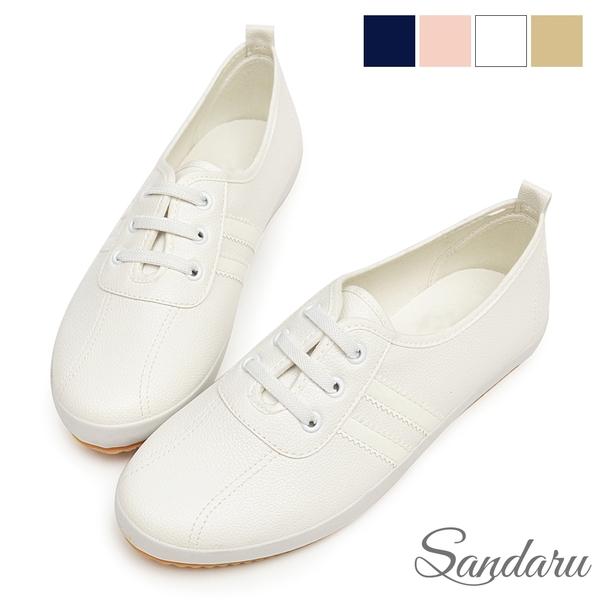 小白鞋 軟皮革側配色鬆緊鞋帶休閒鞋-白