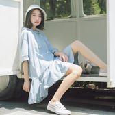 娃娃裙夏季韓版寬鬆日系中長款連帽衛衣裙荷葉邊T恤連衣裙女學生