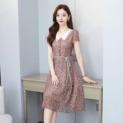短袖洋裝連身裙~9256# 氣質雪紡碎花連身裙女收腰顯瘦高端娃娃領中長款裙子H325日韓屋