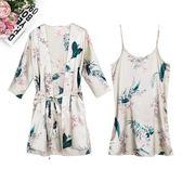 春秋睡衣女夏季兩件套裝冰絲性感長款吊帶睡裙薄款寬鬆可外穿睡袍