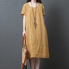 圓領條紋棉麻連身裙(2色M~2XL)*ORead*
