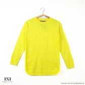 【INI】柔感舒適、素色麻花織紋百搭針織毛衣.黃色