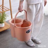 家用手動擠水桶手壓地拖桶拖地拖把桶塑料旋轉擰水單桶老式墩布桶 LN4206【甜心小妮童裝】