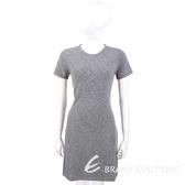 ALLUDE 灰色菱格紋鑽飾短袖洋裝 1340321-06