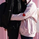 情侶裝 - 大學T 連帽T 愛心刺繡字母套頭衛衣 連帽外套 情人節特惠