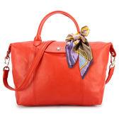 LONGCHAMP小羊皮手提肩背兩用短提把中型水餃包(橘紅色/送帕巾)480193-611