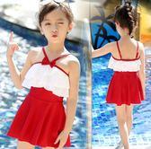 兒童泳衣女 女童出遊度假洋裝小中大童寶寶連體公主裙可愛時尚泳裝 rj1804『紅袖伊人』