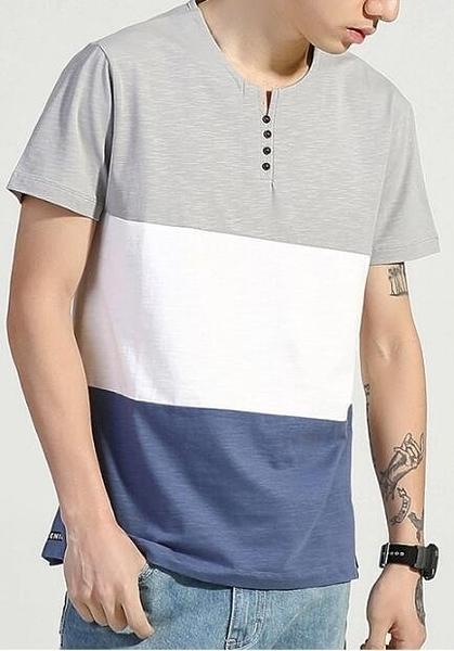 FINDSENSE MD 日系 時尚 潮 男 鈕扣小V領 三色拼接撞色 短袖T恤