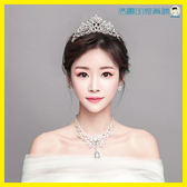 雙十二狂歡新娘王冠孔雀皇冠頭飾三件套髮飾【洛麗的雜貨鋪】