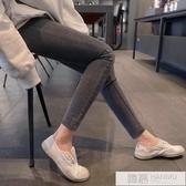 灰色九分牛仔褲女高腰彈力顯瘦2019夏季新款緊身韓版小腳9分褲 韓慕精品