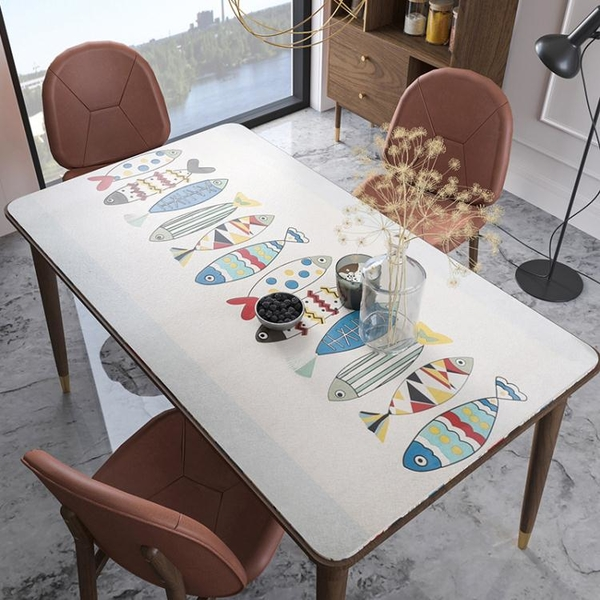 北歐軟玻璃餐桌墊桌布防水防油免洗防燙PVC輕奢長方形臺布茶幾墊 「夢幻小鎮」