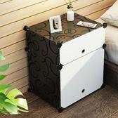 簡易床頭櫃簡約現代塑料臥室床頭收納櫃組裝迷你床邊小櫃子儲物櫃FA【衝量大促銷】