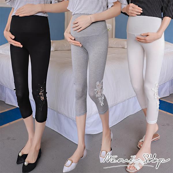 孕婦裝 MIMI別走【P61202】粉嫩布花蕾絲彈力七分內搭褲.腰圍可調 / 4 色