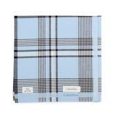 Calvin Klein 交錯條紋紳士純棉帕巾(淡藍/黑)989091-256