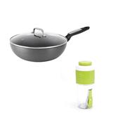 (組)輕量不沾導磁炒鍋30cm+旋轉沙拉隨行杯