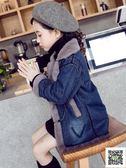 冬季女童大衣 女童加絨牛仔外套兒童2019新款韓版中長款冬裝女孩加厚洋氣大衣潮 快樂母嬰