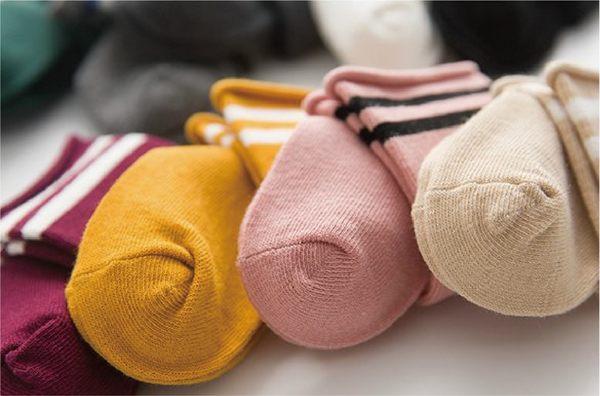 童襪 復古 條文 運動風 素色款 棉質 透氣 短襪 中筒襪 長襪 六色 寶貝童衣