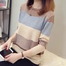 現貨出貨特價韓版寬鬆鏤空圓領針織衫短款薄款百搭女毛衣-F咖啡色