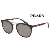 台灣原廠公司貨-【PRADA太陽眼鏡】深咖啡復古圓框偏光太陽眼鏡(PR04SS-UB05K0)