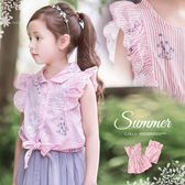 粉紅幻夏花繪波浪荷葉直條紋上衣OR洋裝(250450)★水娃娃時尚童裝★