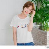 《AB0238》童趣繡花小人設計休閒圓領T恤.2色 OrangeBear