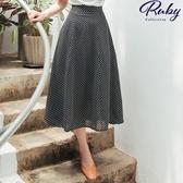 裙子 RCha。復古風點點後鬆緊長裙-Ruby s 露比午茶