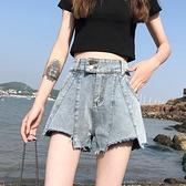 高腰牛仔超短褲女2021新款夏季寬鬆寬管a字百搭熱褲薄款潮ins 【七七小鋪】