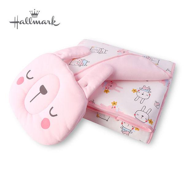 Hallmark Babies 秋冬兔子松鼠印花枕頭被子組 HH3-N02-L2-LG-MR