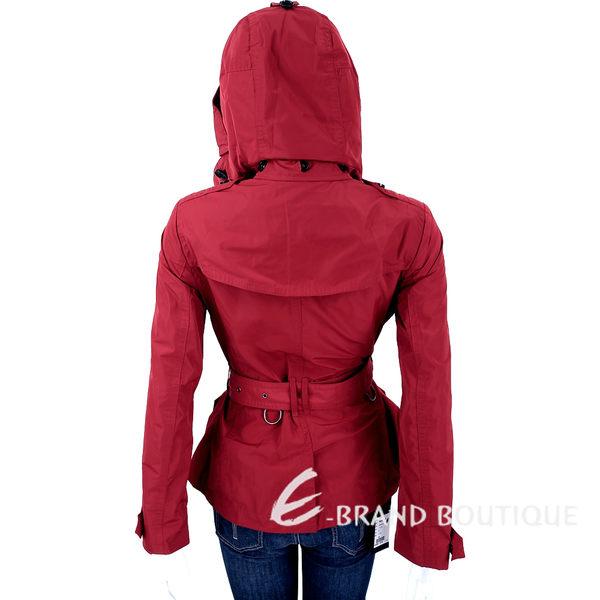 BURBERRY BRIT系列 Balmoral 紅色短版連帽防雨風衣(附腰帶) 1630154-54