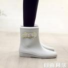 日式輕便中筒雨靴加絨防水時尚保暖膠鞋防滑水鞋成人套鞋雨鞋女  自由角落