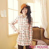 RED HOUSE-蕾赫斯-經典格紋長版襯衫(卡其色)