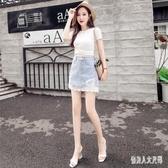 時尚牛仔裙 2020春夏新款裙子高腰鏤空a字裙蕾絲包臀短裙半身裙CH565【俏美人大尺碼】
