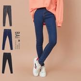 窄管褲 金屬單釦超彈性貼身牛仔褲26-32碼-BAi白媽媽【196326】